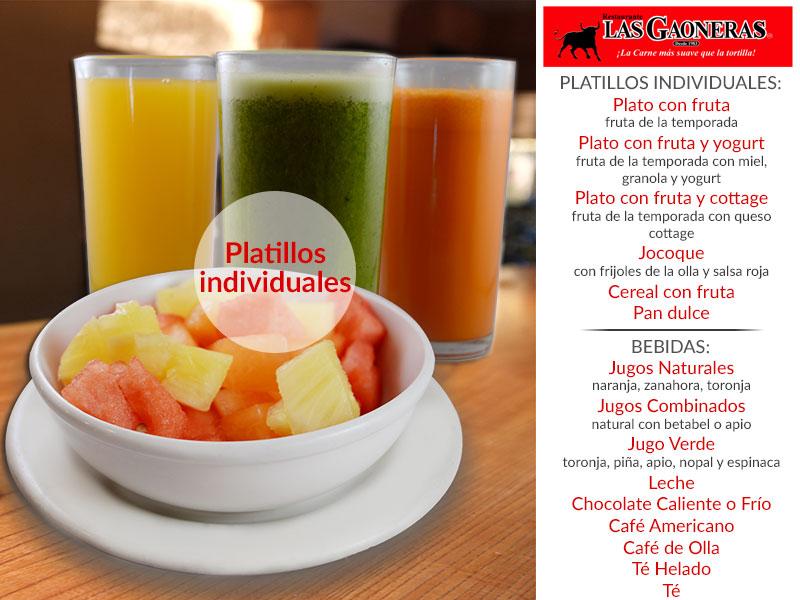Las Gaoneras - Desayunos Platillos individuales y bebidas